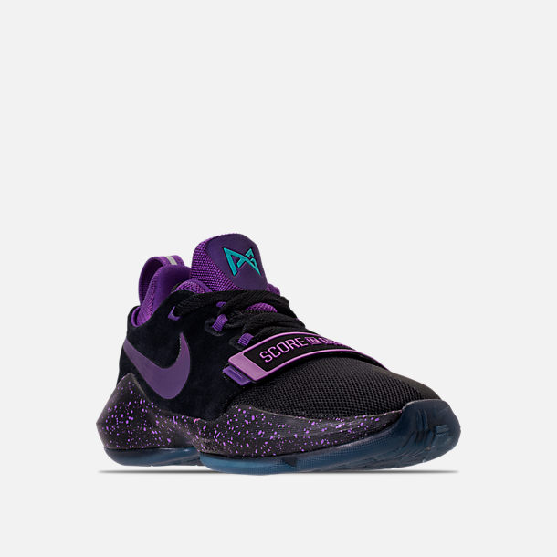 Three Quarter view of Boys' Grade School Nike PG 1 Basketball Shoes in Black/Court Purple/Clear Jade