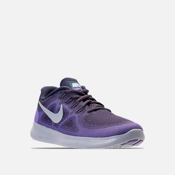 Three Quarter view of Women's Nike Free RN 2017 Running Shoes in Dark Raisin/Pure Platinum/Purple