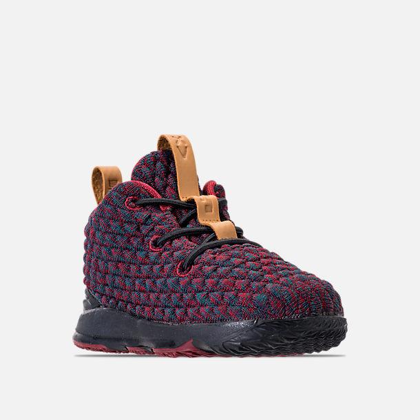 ... Three Quarter view of Boys Toddler Nike LeBron 15 Basketball Shoes in  Dark Atomic Teal .