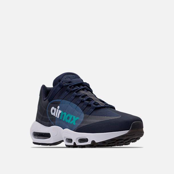 Three Quarter view of Men's Nike Air Max 95 NS GPX SP Casual Shoes in Obsidian/White/Slate