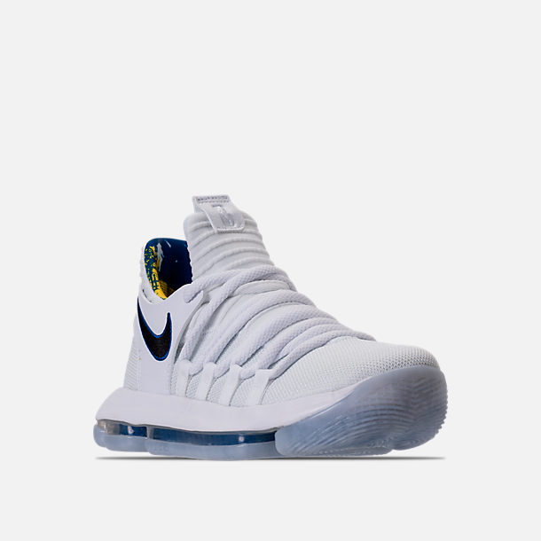 Three Quarter view of Boys' Grade School Nike Zoom KDX Basketball Shoes in White/Game Royal/University Gold