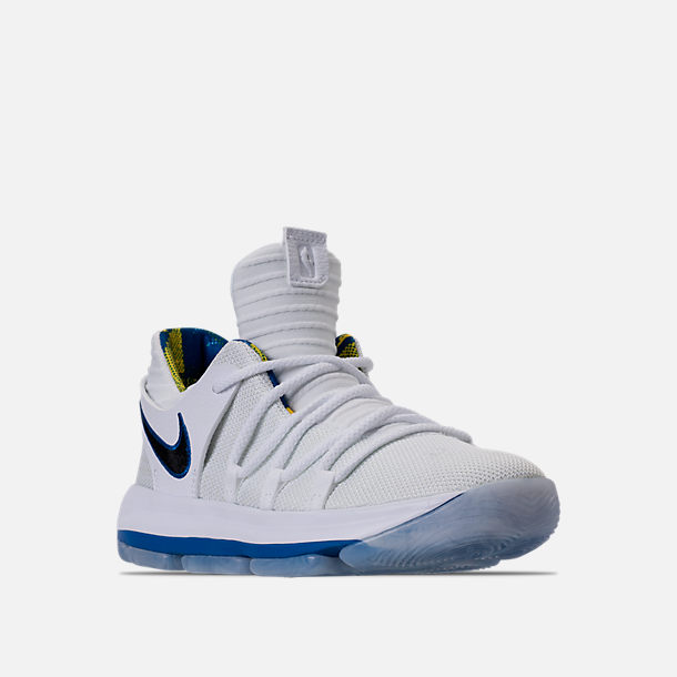 Three Quarter view of Boys' Preschool Nike KDX Basketball Shoes in White/Game Royal/University Gold