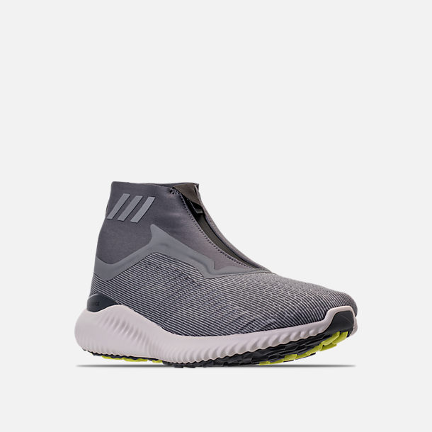 f8a2367d00e02 Three Quarter view of Men s adidas AlphaBounce 5.8 Zip Running Shoes in  Grey White