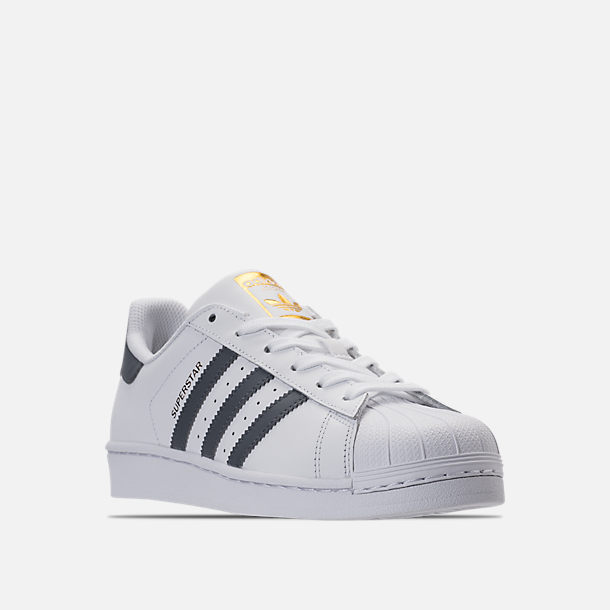 Three Quarter view of Women's adidas Superstar Casual Shoes in White/Onyx/Gold Metallic