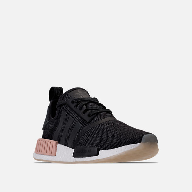 Three Quarter view of Women's adidas NMD R1 Casual Shoes in Core Black/Noble Indigo/White