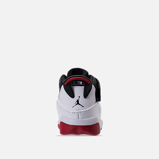 Back view of Boys' Toddler Air Jordan 6 Rings Basketball Shoes in Black/White/Gym Red