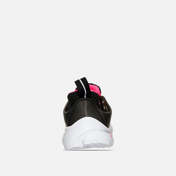 Back view of Girls' Toddler Nike Little Presto Running Shoes in Black/Hyper  Pink
