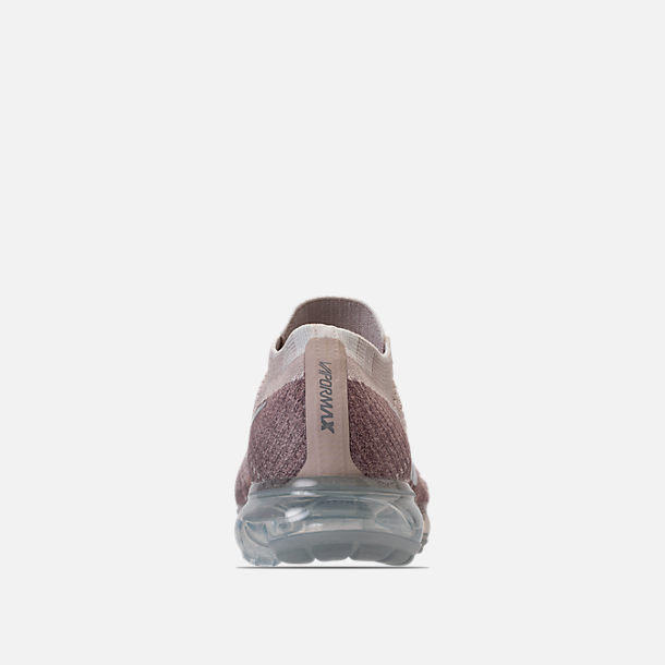 Back view of Women's Nike Air VaporMax Flyknit Running Shoes in String/Chrome/Sunset Glow/Taupe