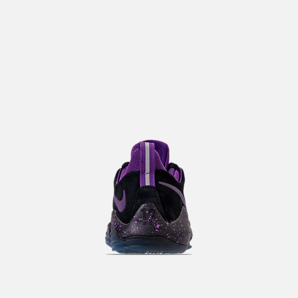 Back view of Boys' Grade School Nike PG 1 Basketball Shoes in Black/Court Purple/Clear Jade