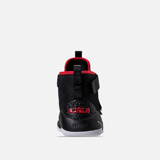 96fd605bc7e Back view of Boys  Preschool Nike LeBron Soldier 11 Basketball Shoes in  Black White