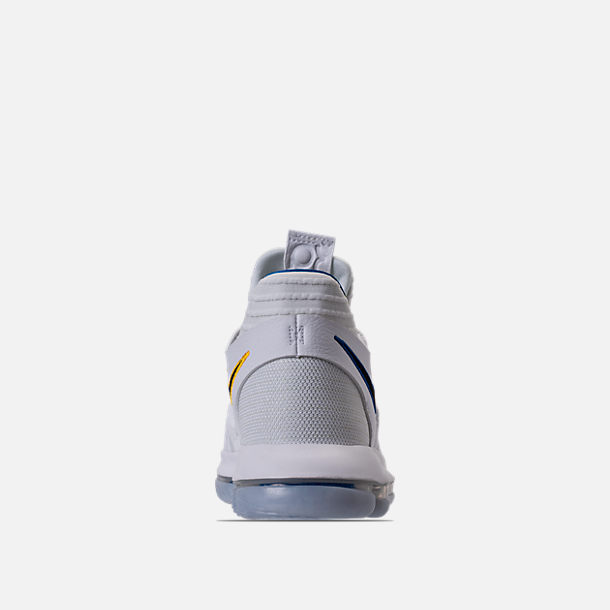 Back view of Boys' Grade School Nike Zoom KDX Basketball Shoes in White/Game Royal/University Gold