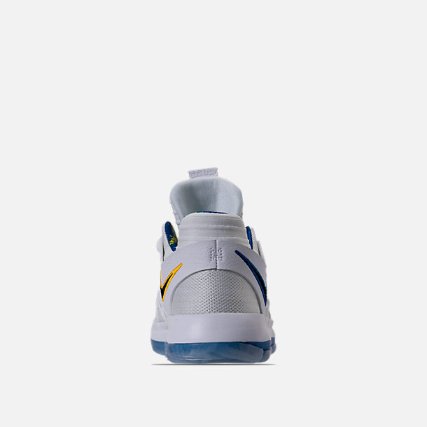 Back view of Boys' Preschool Nike KDX Basketball Shoes in White/Game Royal/University Gold