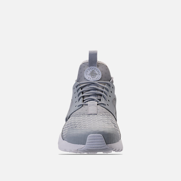 Front view of Men's Nike Air Huarache Run Ultra Casual Shoes in Wolf Grey/Pale Grey/White