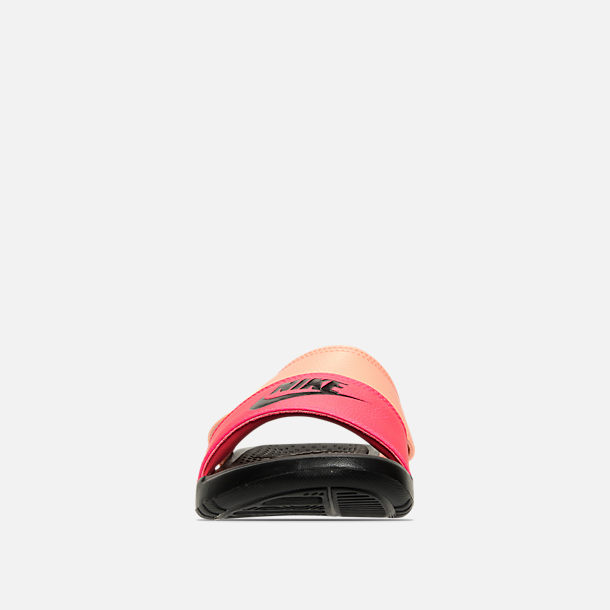 Front view of Women's Nike Benassi Duo Ultra Slide Sandals in Racer Pink/Black/Sunset Glow