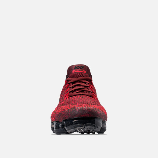 Front view of Men's Nike Air VaporMax Flyknit Running Shoes in Dark Team Red/Black/University Red