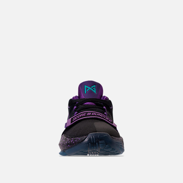 Front view of Boys' Grade School Nike PG 1 Basketball Shoes in Black/Court Purple/Clear Jade