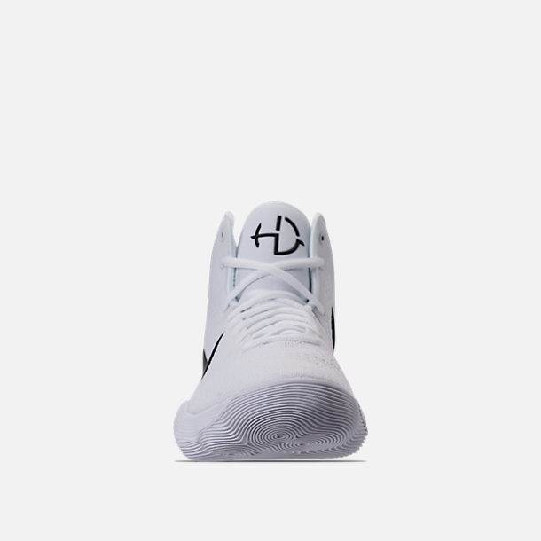 Front view of Men's Nike React Hyperdunk 2017 TB Basketball Shoes in White/ Black