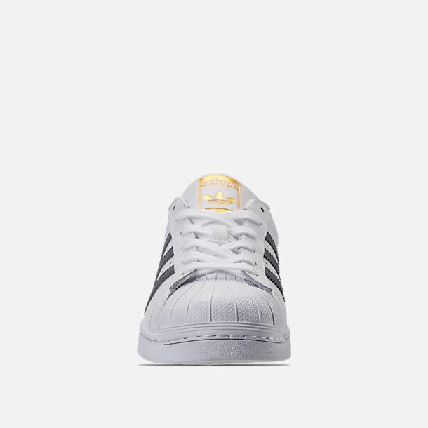 Front view of Women's adidas Superstar Casual Shoes in White/Onyx/Gold Metallic